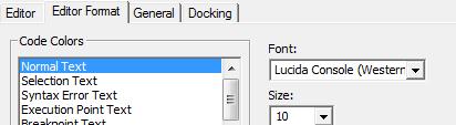 Select Lucida Console font